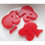 22mm Barbie with rhinestone Flat back Resin - Red