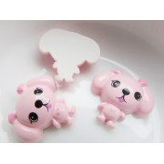 22mm Puppy Flat back Resin - Lt. Pink