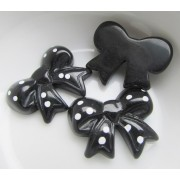 26mm Spotted Bow Flat back Resin - Black